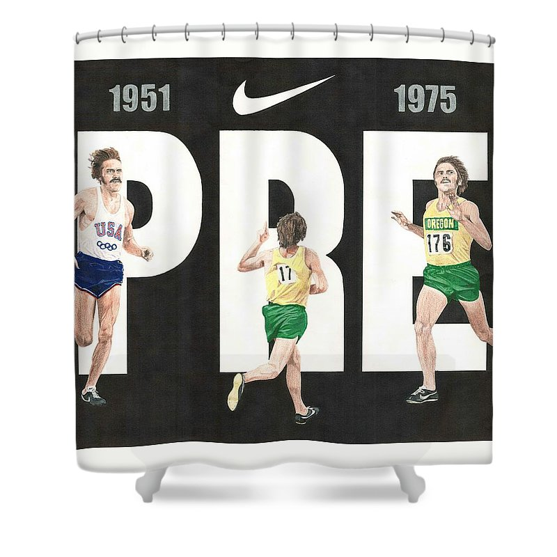 Steve Prefontaine Shower Curtain featuring the drawing PRE by Chris Brown