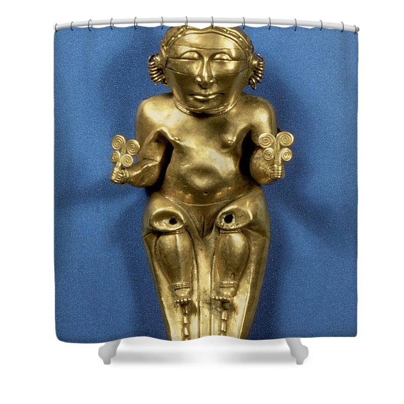 Artifact Shower Curtain featuring the photograph Pre-columbian Gold by Granger