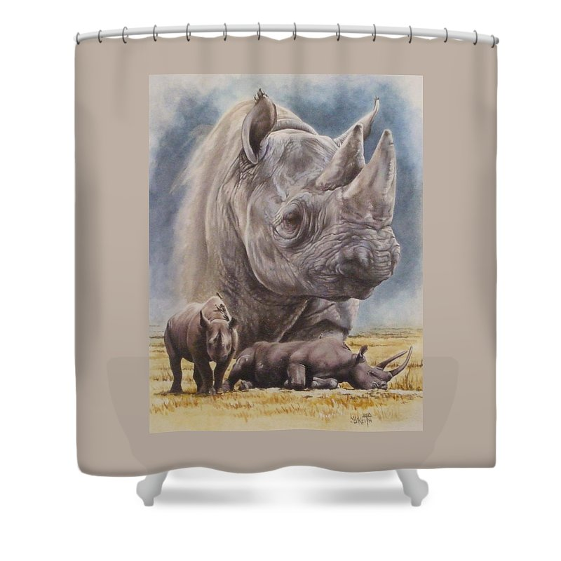 Wildlife Shower Curtain featuring the mixed media Precarious by Barbara Keith