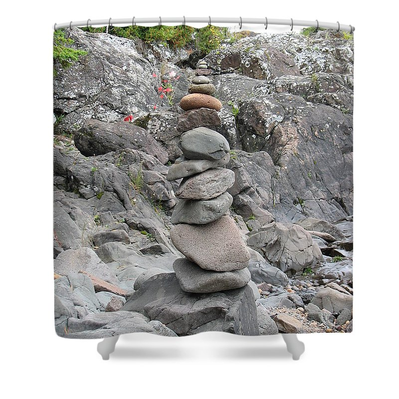 Stones Shower Curtain featuring the photograph Precarious by Kelly Mezzapelle