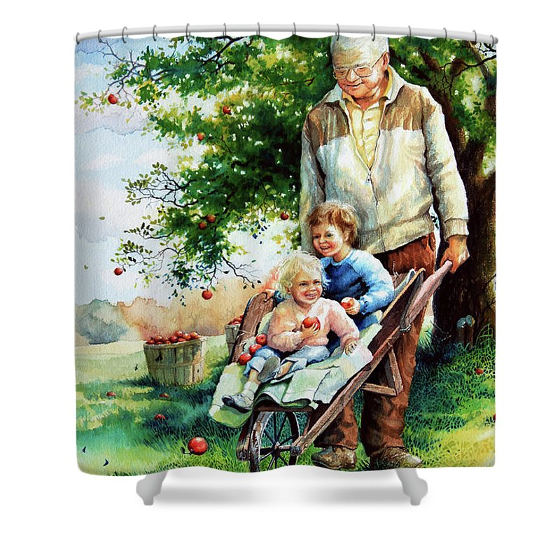 Wheelbarrow Shower Curtain featuring the painting Precious Cargo by Hanne Lore Koehler