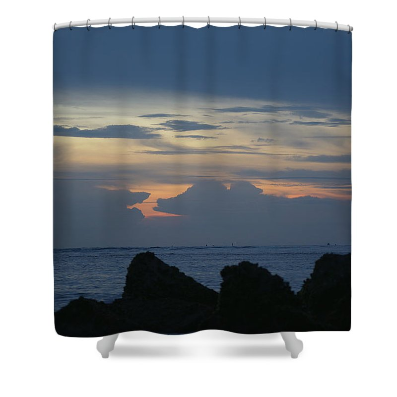 Ocean Shower Curtain featuring the photograph Predawn At The Jetty by Kenneth Albin