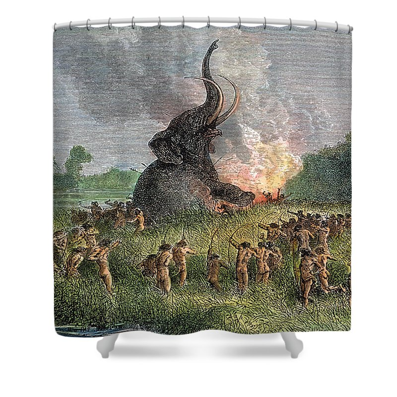 Ancient Shower Curtain featuring the photograph Prehistoric Mammoth Hunt by Granger