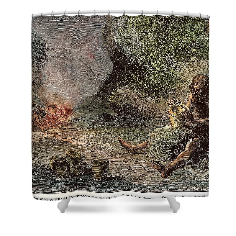 Caveman Shower Curtain featuring the photograph Prehistoric Man: Pottery by Granger