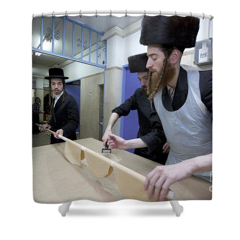Matza Shower Curtain featuring the photograph Preparing Matzah Israel by Danny Yanai