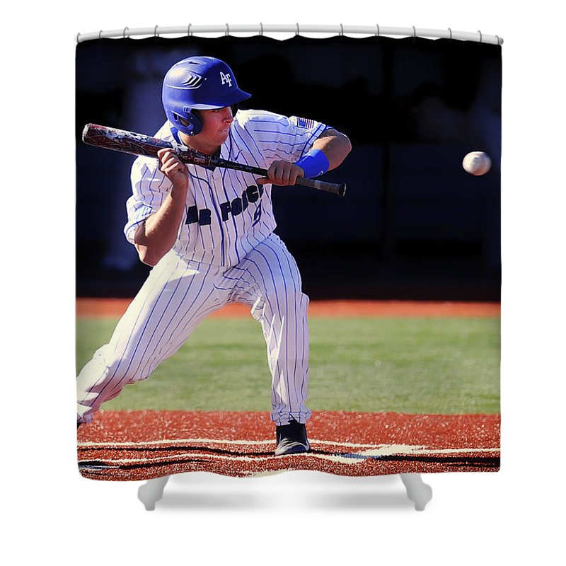 Bunt Shower Curtain featuring the photograph Preparing To Bunt by Mountain Dreams