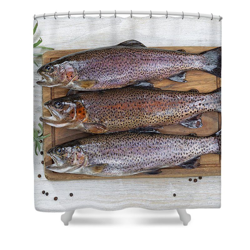 Fish Shower Curtain featuring the photograph Preparing Trout For Dinner by Thomas Baker