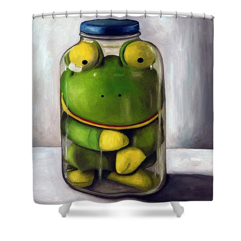 Frog Shower Curtain featuring the painting Preserving Childhood by Leah Saulnier The Painting Maniac