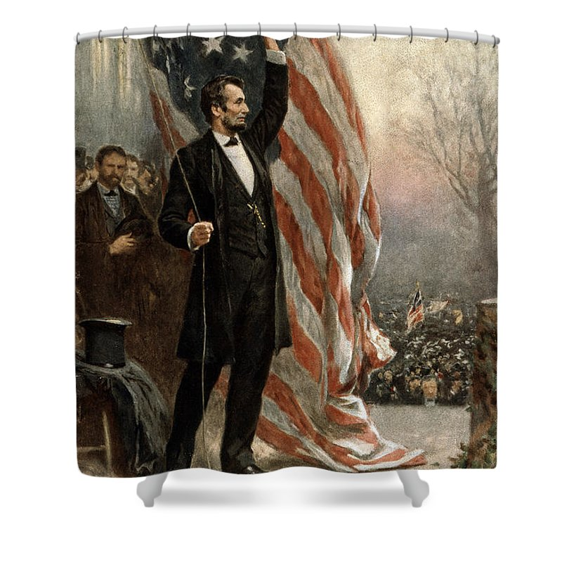 abraham Lincoln Shower Curtain featuring the photograph President Abraham Lincoln - American Flag by International Images