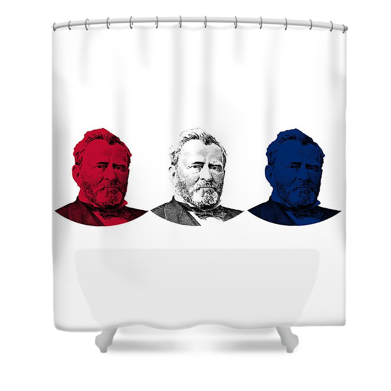 Us Grant Shower Curtain featuring the digital art President Grant Red White And Blue by War Is Hell Store