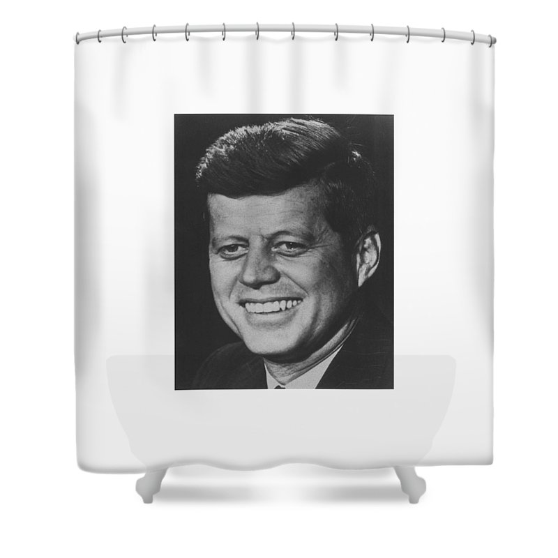 Jfk Shower Curtain featuring the photograph President John Kennedy by War Is Hell Store