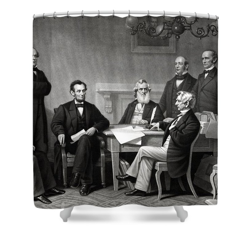 Abraham Lincoln Shower Curtain featuring the drawing President Lincoln And His Cabinet by War Is Hell Store