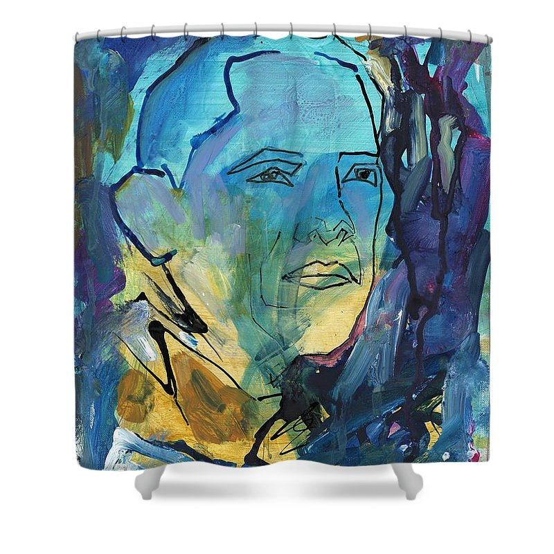 President Obama Shower Curtain featuring the painting President Obama by Partha Chinnasamy