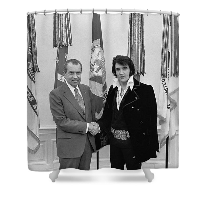 President Nixon Shower Curtain Featuring The Photograph Richard Meeting Elvis By War Is Hell