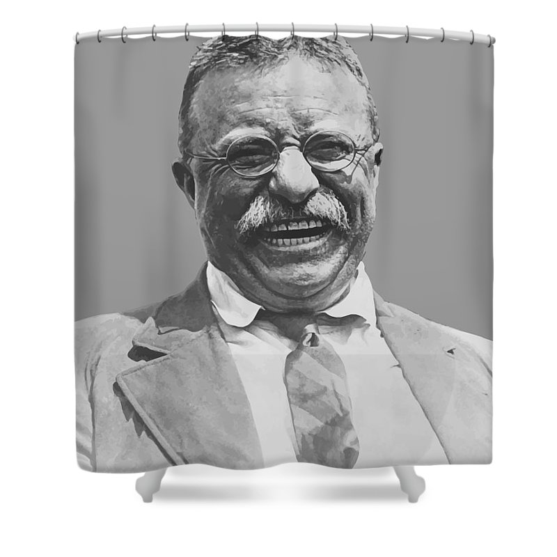 Teddy Roosevelt Shower Curtain featuring the painting President Teddy Roosevelt by War Is Hell Store