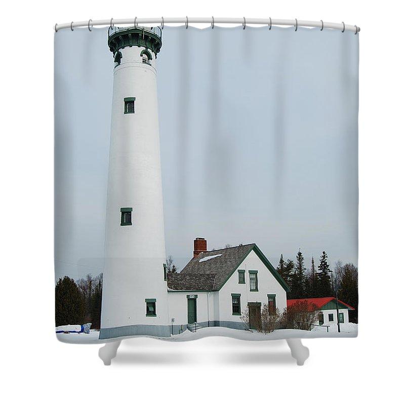 Presque Isle Lighthouse Shower Curtain featuring the photograph Presque Isle Lighthouse by Michael Peychich