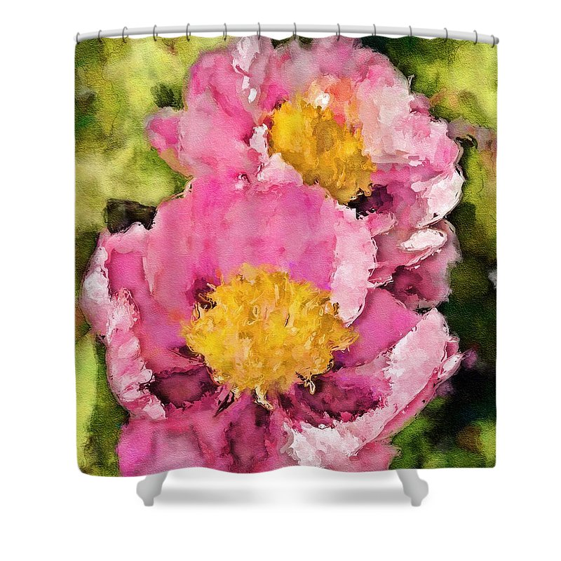 Peony Shower Curtain featuring the digital art Pretty And Pink by Painterly Images