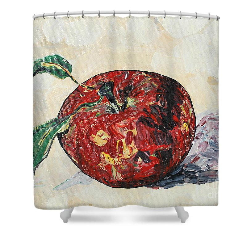 Apples Shower Curtain featuring the painting Pretty Apple by Reina Resto