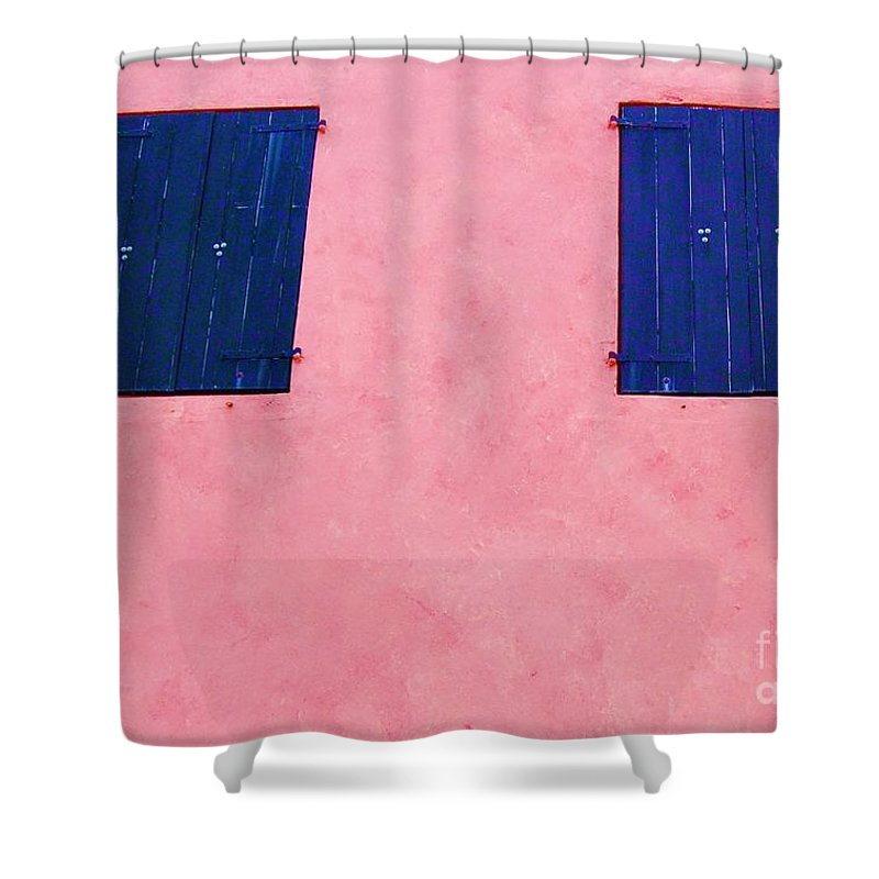 Shutters Shower Curtain featuring the photograph Pretty In Pink by Debbi Granruth