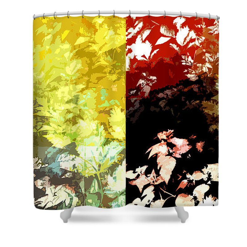 Abstract Shower Curtain featuring the mixed media Pretty Maids All In A Row by Ruth Palmer