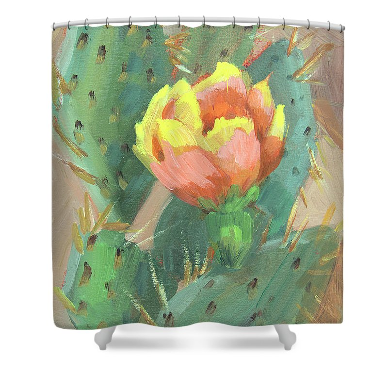 Cactus Shower Curtain featuring the painting Prickly Pear Cactus Bloom by Diane McClary