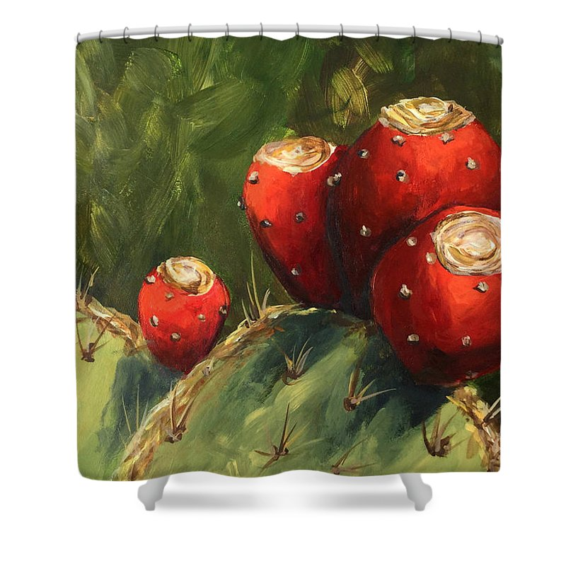 Prickly Pear Shower Curtain featuring the painting Prickly Pear III by Torrie Smiley