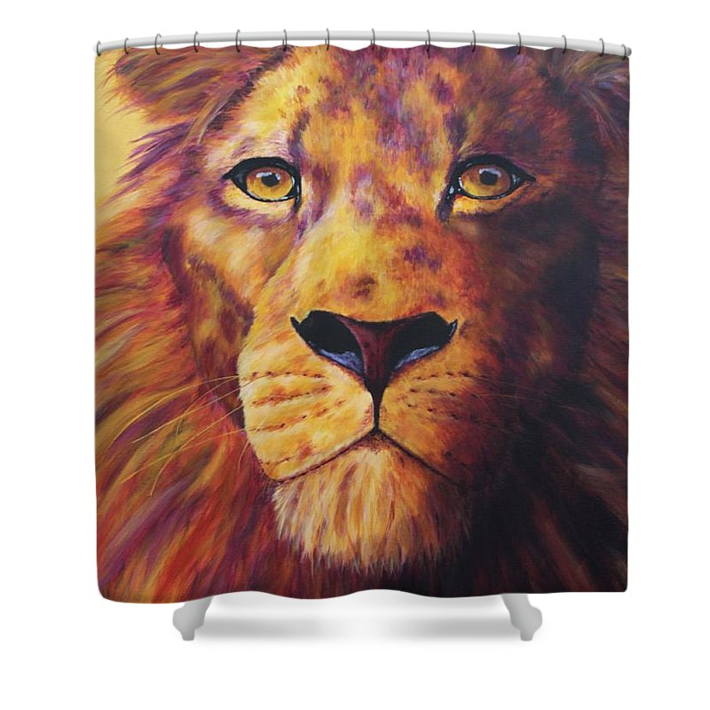 Lion Shower Curtain featuring the painting Pride by Wendi Curtis