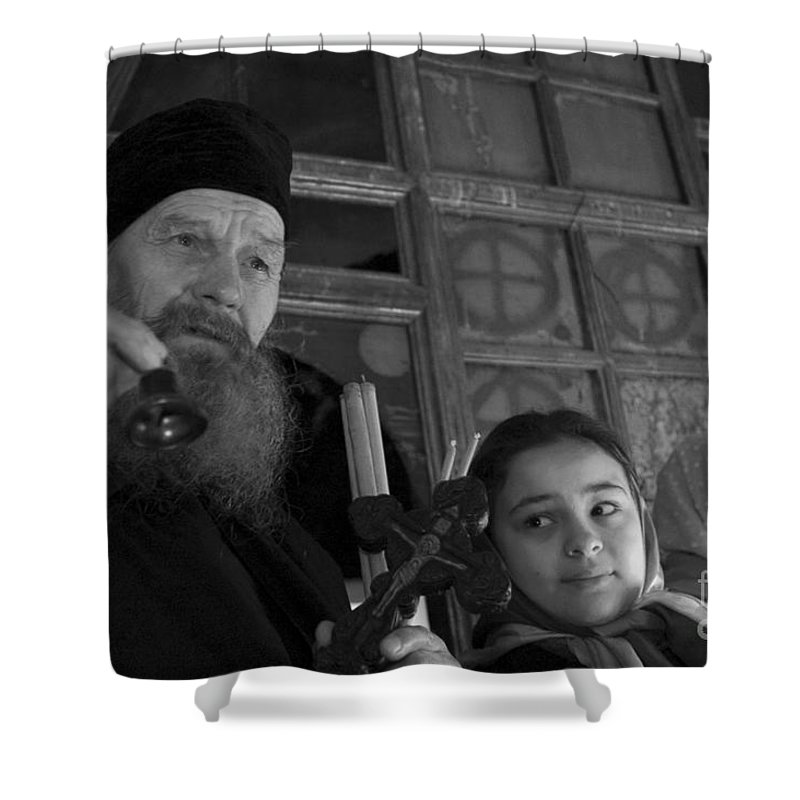 Christian Shower Curtain featuring the photograph Priest And A Young Girl by Nahum Budin