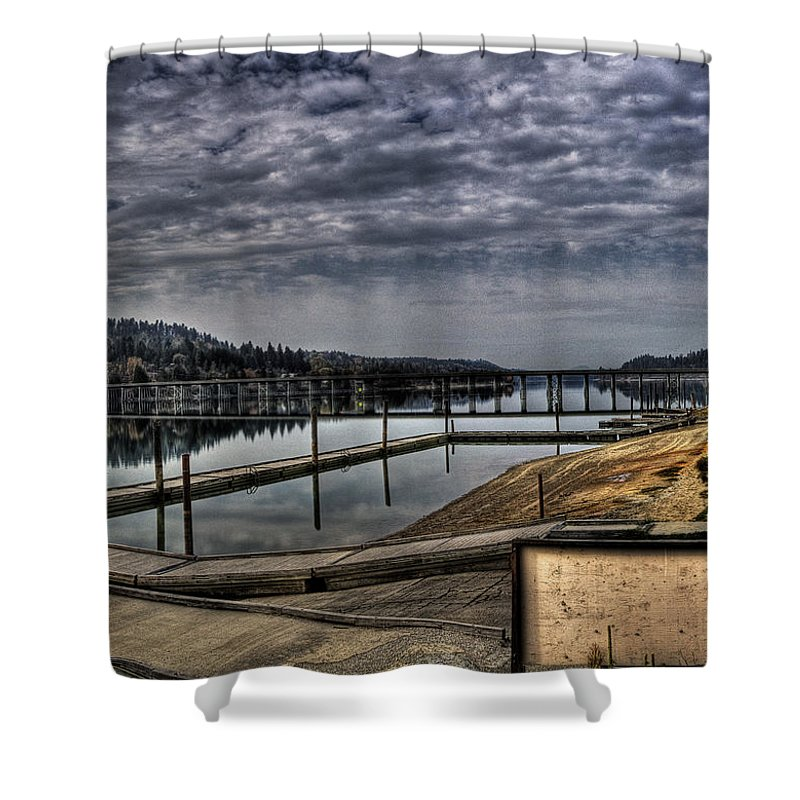 Hdr Shower Curtain featuring the photograph Priest River Panorama 6 by Lee Santa