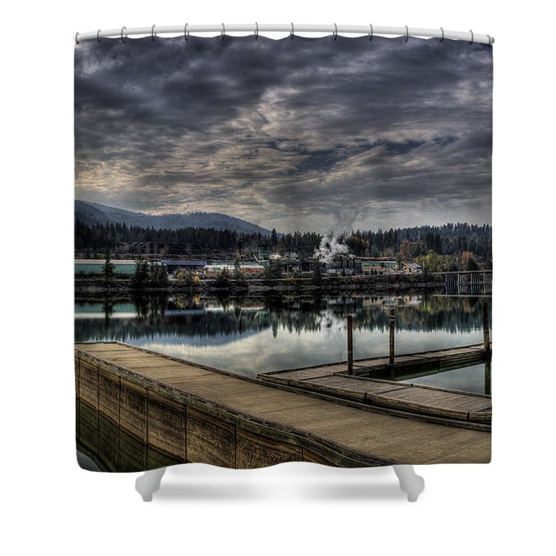 Hdr Shower Curtain featuring the photograph Priest River Panorama 7 by Lee Santa