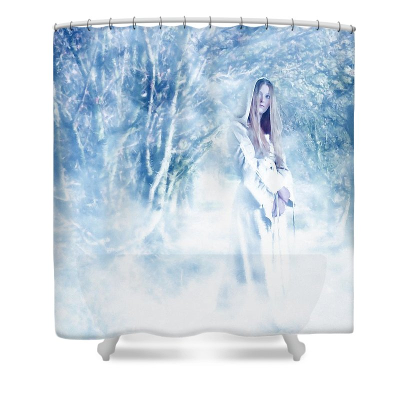 Woodland Shower Curtain featuring the photograph Priestess by John Edwards