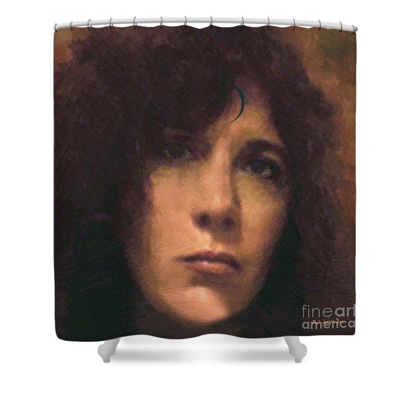 Portrait Shower Curtain featuring the painting Priestess Of Avalon by RC DeWinter