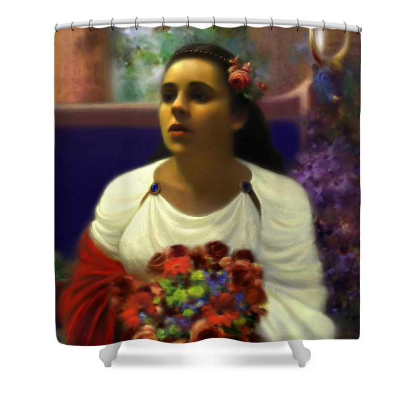 Goddess Shower Curtain featuring the digital art Priestess Of The Floral Temple by Stephen Lucas