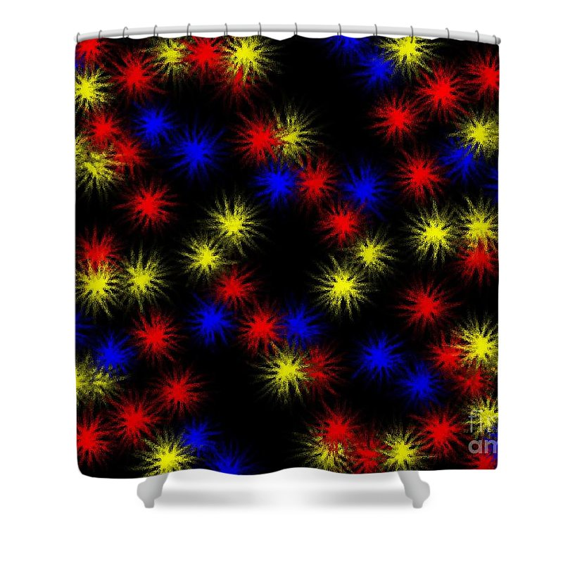 Clay Shower Curtain featuring the digital art Primary Bursts Under Glass by Clayton Bruster