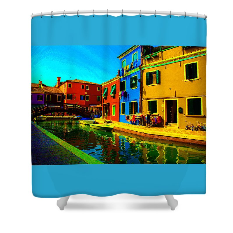 Burano Shower Curtain featuring the pastel Primary Colors 2 by Donna Corless