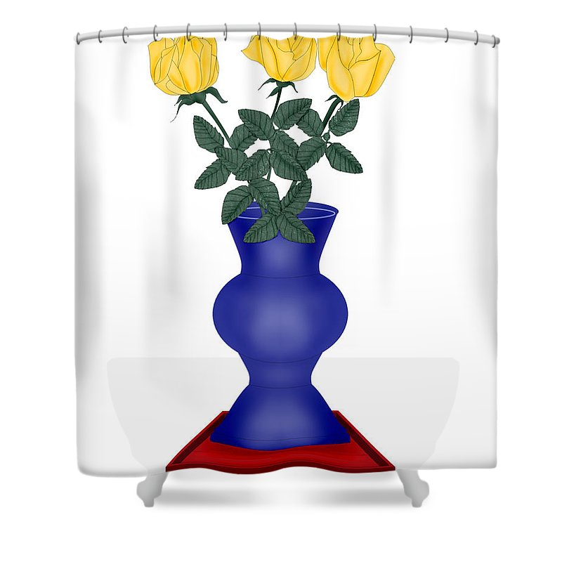 Blue Vase Shower Curtain featuring the painting Primary Colors by Anne Norskog