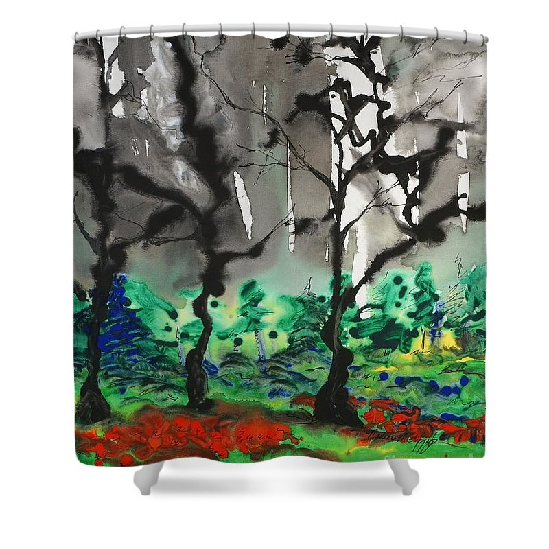 Forest Shower Curtain featuring the painting Primary Forest by Nadine Rippelmeyer