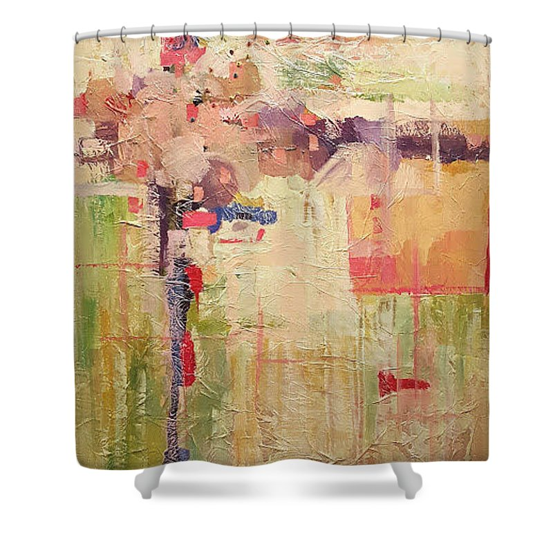 Mixed Media Abstracts Shower Curtain featuring the painting Primavera by Ginger Concepcion