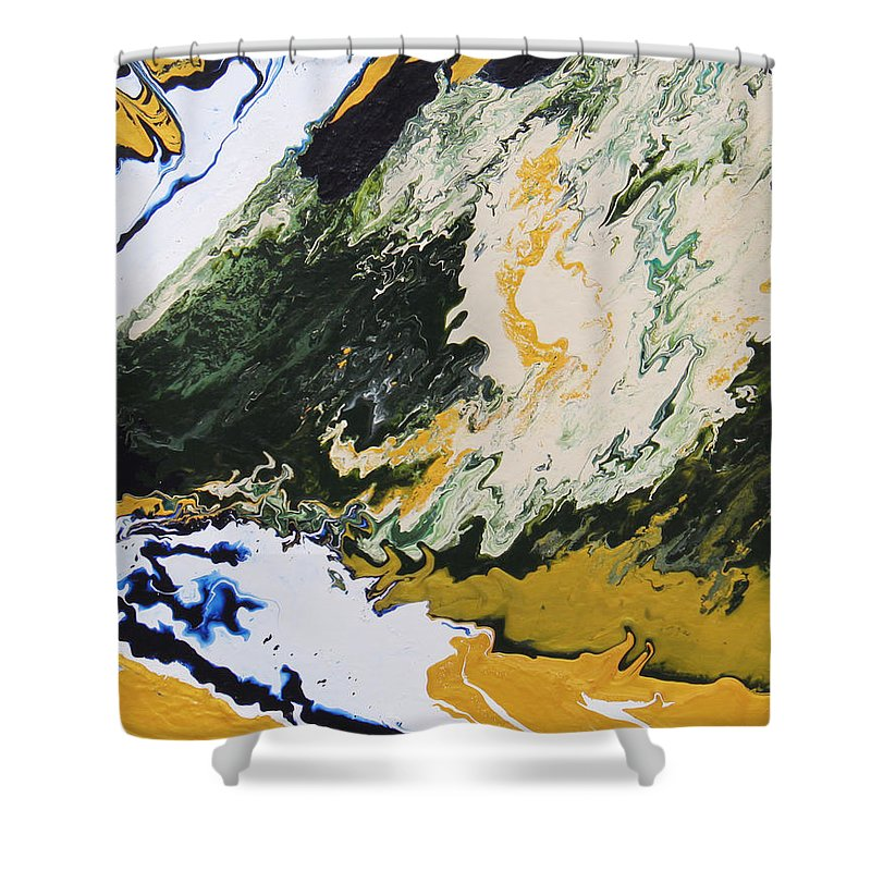 Fusionart Shower Curtain featuring the painting Primeval by Ralph White