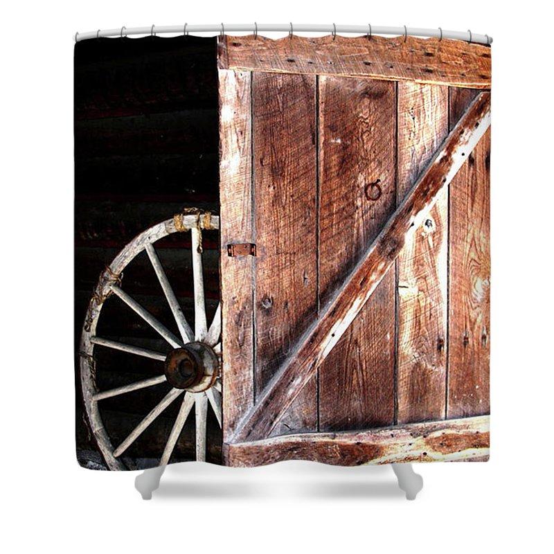 Door Shower Curtain featuring the digital art Primitive by Kim Henderson