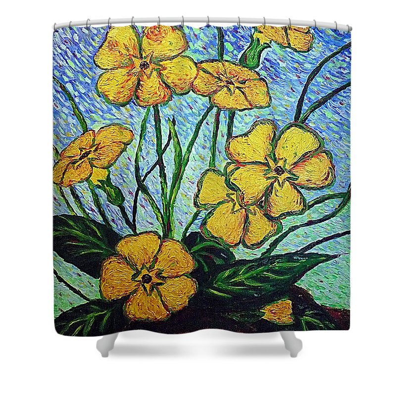 Flowers Shower Curtain featuring the painting Primula Veris by Ericka Herazo