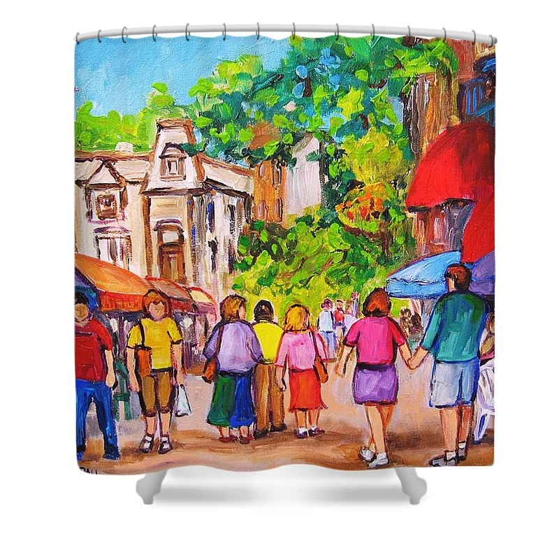 Rue Prince Arthur Montreal Street Scenes Shower Curtain featuring the painting Prince Arthur Street Montreal by Carole Spandau