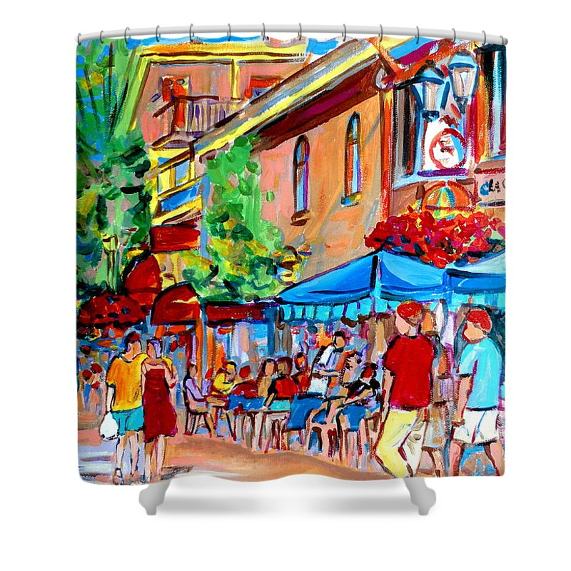 Cafes Shower Curtain featuring the painting Prince Arthur Street Summer by Carole Spandau
