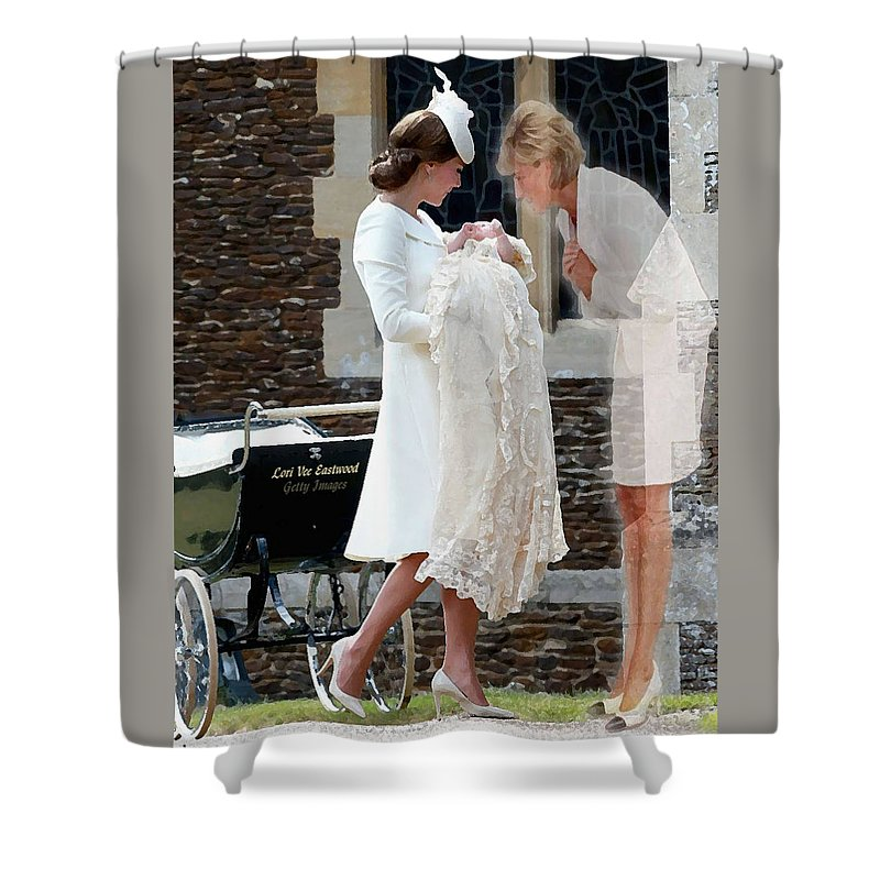 Princess Diana Shower Curtain featuring the painting Princess Diana - Viral Image by Lori Vee Eastwood Designs for Hope