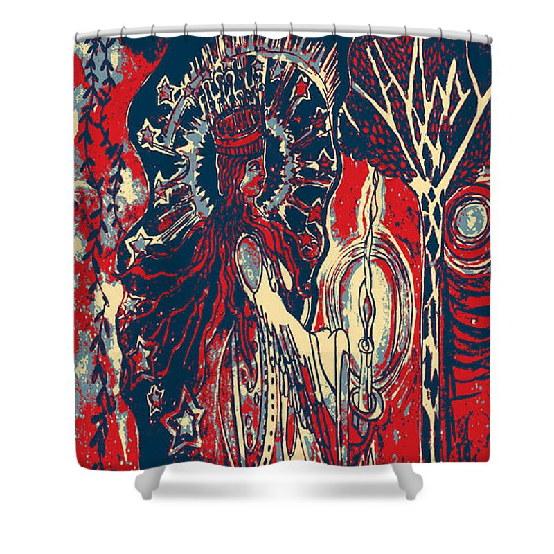 Princess Shower Curtain Featuring The Painting In Night Garden Of Hope By Genevieve Esson