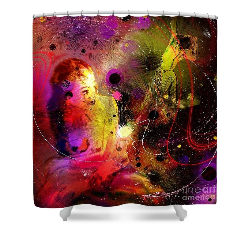 Nudes Shower Curtain featuring the painting Prisoner Of The Past by Miki De Goodaboom