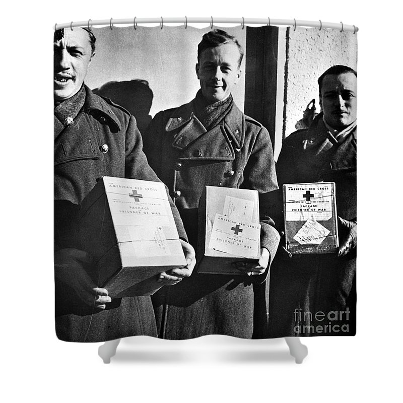 1942 Shower Curtain featuring the photograph Prisoners Of War, C1942 by Granger