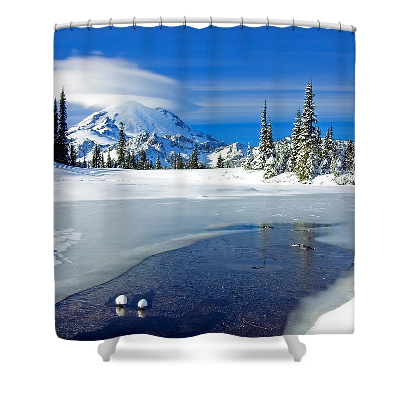 Rainier Shower Curtain featuring the photograph Pristine by Mike Dawson
