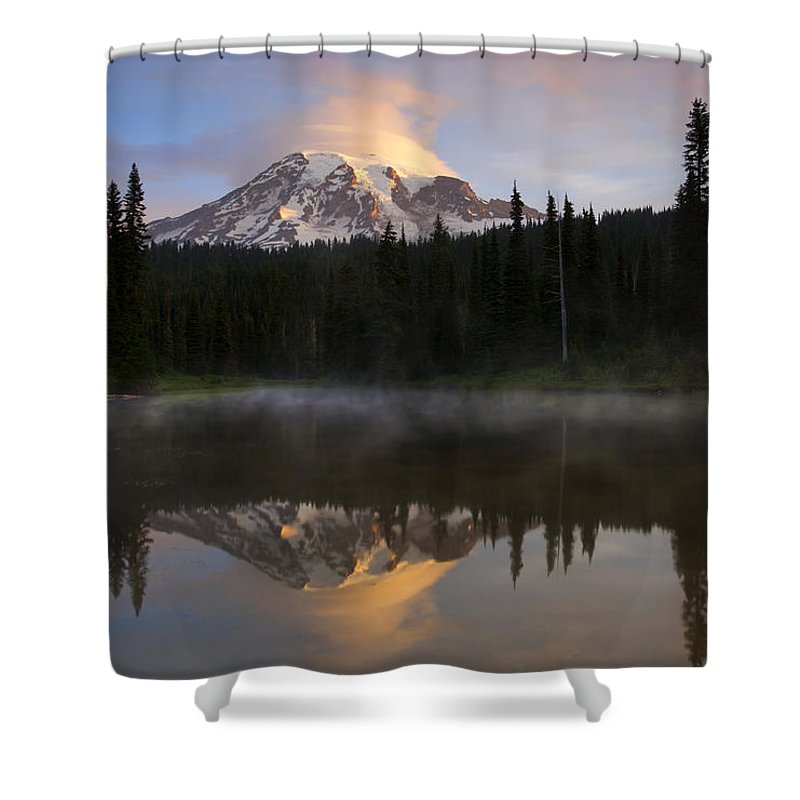 Rainier Shower Curtain featuring the photograph Pristine Reflections by Mike Dawson