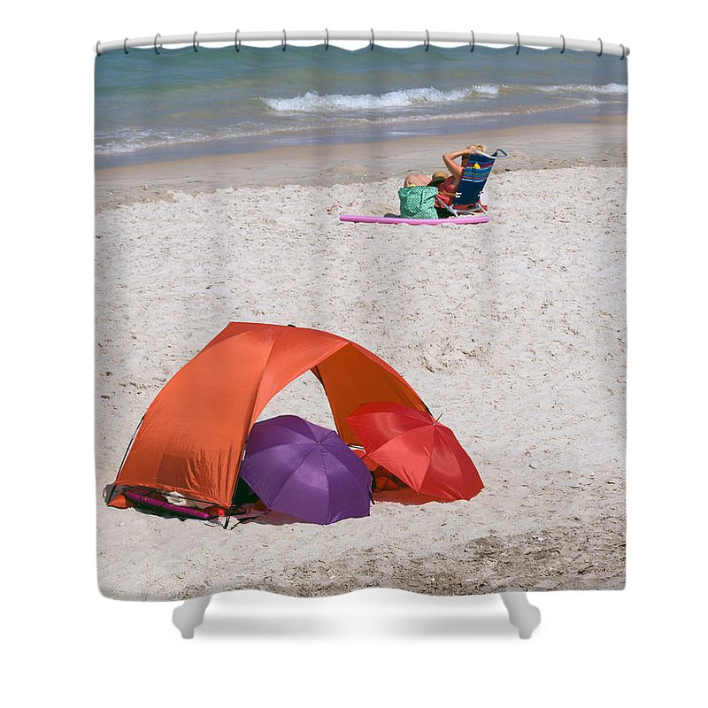 Florida; Vero; Beach; Shore; Coast; East; Atlantic; Ocean; Sand; Sandy; Umbrella; Umbrellas; Sun; Su Shower Curtain featuring the photograph Privacy For Two At The Beach by Allan Hughes